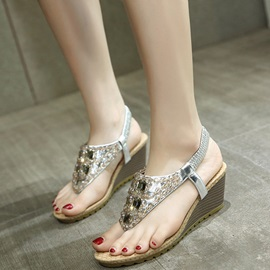 PU Elastic Band Rhinestone Women's Wedge Sandals