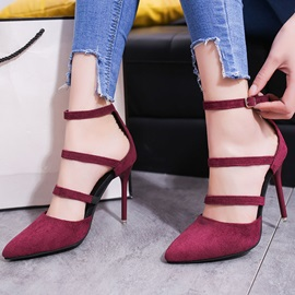 Suede Pointed Toe Line-Style Buckle Pumps