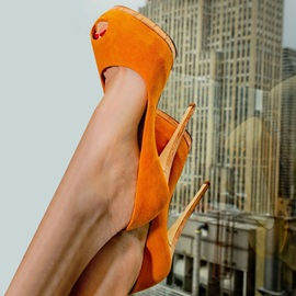 Orange Peep Toe Platform Pumps