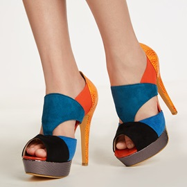 Faux Suede Hollow Color Block Women's Pumps