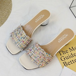 Cloth Slip-On Block Heel Women's Sandals