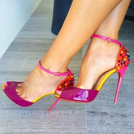 Color Block Rivet Heel Sandals