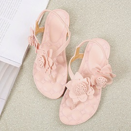 PU Elastic Band Appliques Thong Women's Sandals