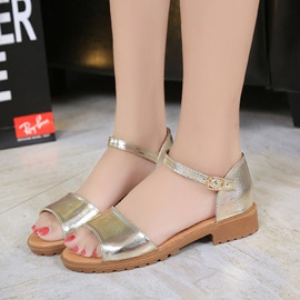PU Open Toe Heel Covering Women's Flat Sandals