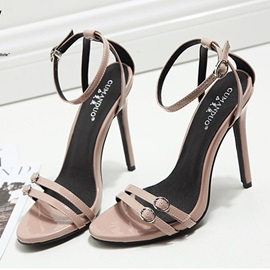 PU Line-Style Buckle Heel Covering Stiletto Sandals