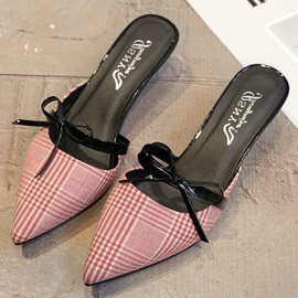 Cloth Slip-On Bowtie Pointed Toe Women's Sandals