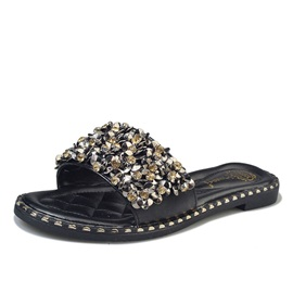 PU Slip-On Appliques Rivets Rhinestone Flat Sandals