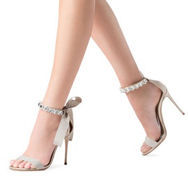 Silk Fabric Lace-Up Bow Rhinestone Stiletto Sandals