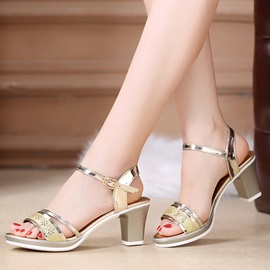 PU Hollow Line-Style Buckle Women's Sandals