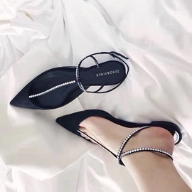 Faux Suede Rhinestone Buckle Closed Toe Flat Sandals