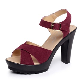 Faux Suede Chunky Heel Peep Toe Sexy Women's Sandals