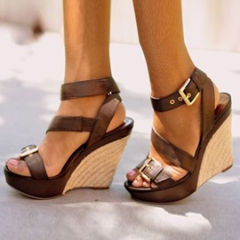 Platform Hasp Open Toe Wedge Sandals