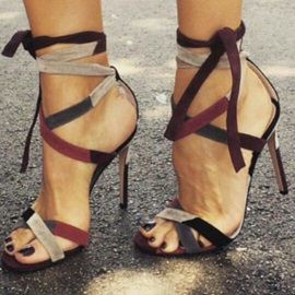 Striped High Heel Sandal