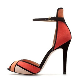 Color Block Line-Style Buckle Heel Sandals