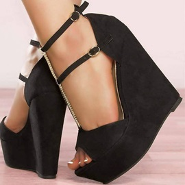 Faux Suede Buckle Peep Toe Black Wedge Sandals