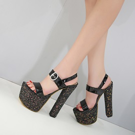PU Open Toe Buckle Sequin Black Sandals