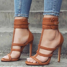 PU Heel Covering Open Toe Buckle Sandals