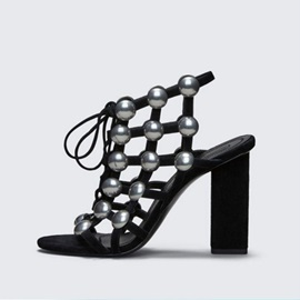 Faux Suede Strappy Beads Lace-Up Sandals