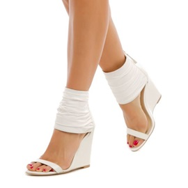 PU Open Toe Zipper Women's White Wedge Sandals