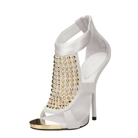 Cloth Zipper Peep Toe Hollow Rhinestone Women's Sandals