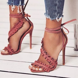 Plain Lace-Up Open Toe Heel Sandals