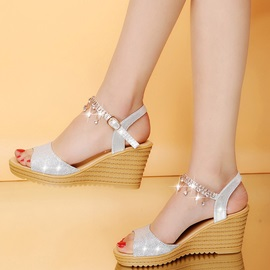 PU Rhinestone Chain Wedge Heel Women's Sandals