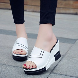 PU Stripe Print Flip Flop Wedge Sandals