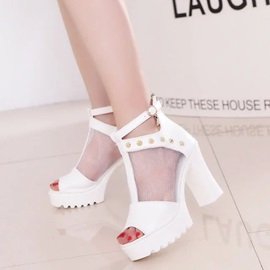PU Platform Rivet Peep Toe Women's Sandals