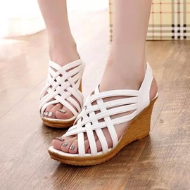 PU Strappy Platform Wedge Heel Women's Sandals
