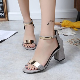 Zipper Heel Covering Chunky Heel Women's Sandals