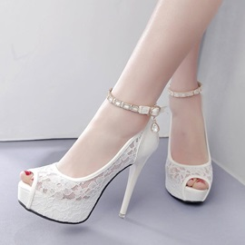 Lace Peep Toe Platform Stiletto Heel Sandals