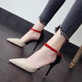 PU Line-Style Buckle Stiletto Heel Women's Sandals