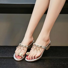 PU Rhinestone Toe Ring Slip-On Sandals