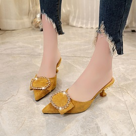 PU Rhinestone Pointed Toe Women's Mules