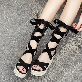 Faux Suede Ankle Strap Wedge Heel Sandals