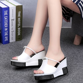 PU Platform Slip-On Wedge Heel Slide Sandals