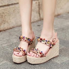 Rhinestone Ankle Strap Wedge Heel Women's Sandals