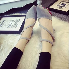 Faux Suede Pointed Toe Chunky Heel Sandals
