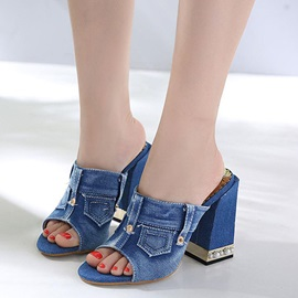 Denim Chunky Heel Flip Flop Women's Slide Sandals