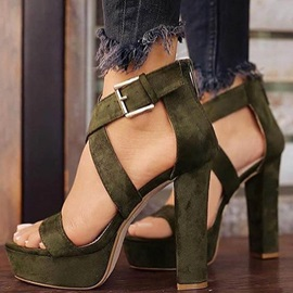 Plain Open Toe Buckle Chunky Heel Sandals