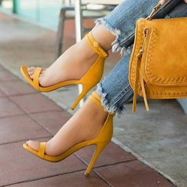 Faux Suede Open Toe Line-Style Buckle Heel Sandals