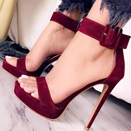 Open Toe Line-Style Buckle Stiletto Heel Sandals
