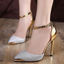 PU Sequin Pointed Toe Stilettos Heel Women's Sandals