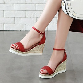 Glitter Heel Covering Platform Wedge Heel Women's Sandals