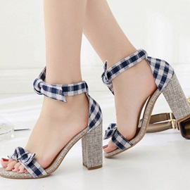 Bow Heel Covering Chunky Heel Women's Gingham Sandals