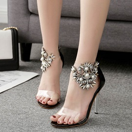 PVC Rhinestone Zipper Stiletto Heel Women's Sandals