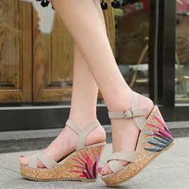 Faux Suede Embroidery Strappy Wedge Heel Women's Sandals