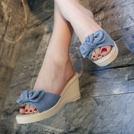 Denim Wedge Heel Women's Slide Sandals