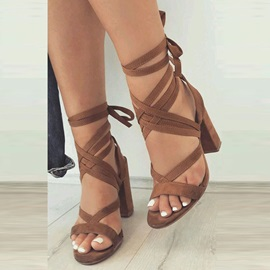 Strappy Lace-Up Chunky Heel Sandals