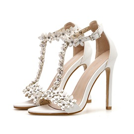 PU Peep Toe T-Shaped Buckle Stiletto Heel Women's Sandals